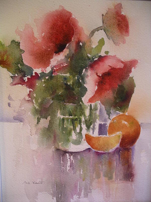 Still Life/ Flowers Art Print featuring the painting Full Bloom by Margaret Kent