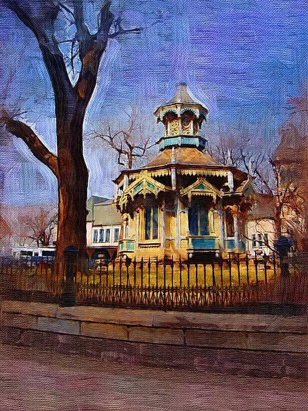 Architecture Art Print featuring the digital art Gazebo And Tree by Anita Burgermeister
