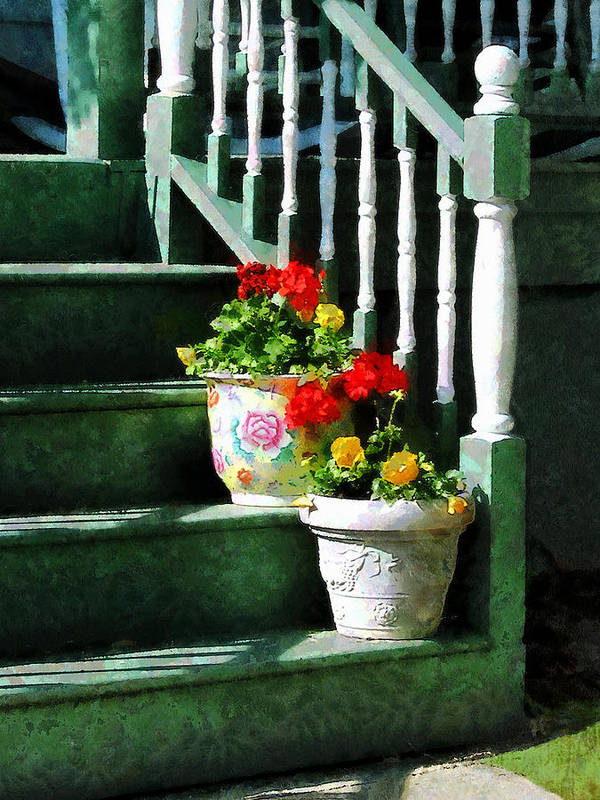 Front Steps Art Print featuring the photograph Geraniums And Pansies On Steps by Susan Savad