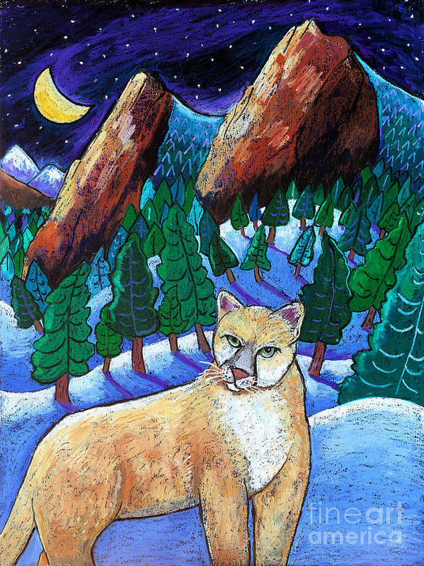 Cougar Art Print featuring the painting Ghost Of The Night by Harriet Peck Taylor