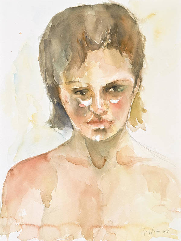 Portrait Art Print featuring the painting Girl by Eugenia Picado