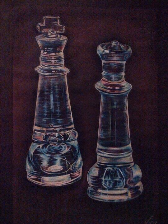 Chess Art Print featuring the drawing Glass Royalty by Summer Porter