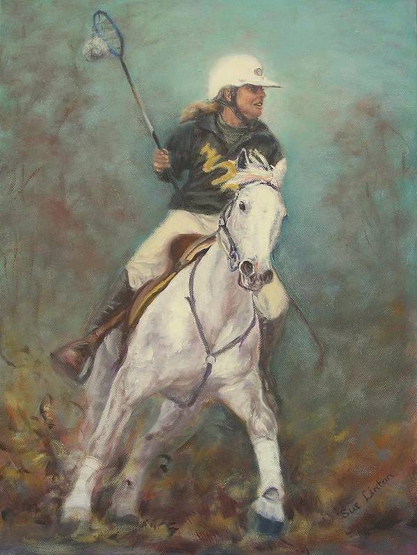 Australian Polocrosse Player On Her Stockhorse Art Print featuring the painting Going For The Goal by Sue Linton
