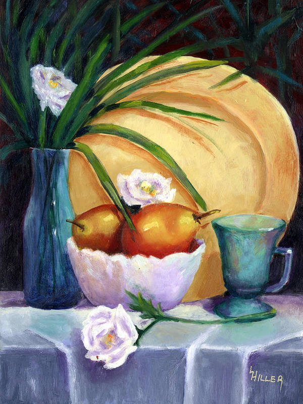 Still Life Art Print featuring the painting Gold Plate by Linda Hiller