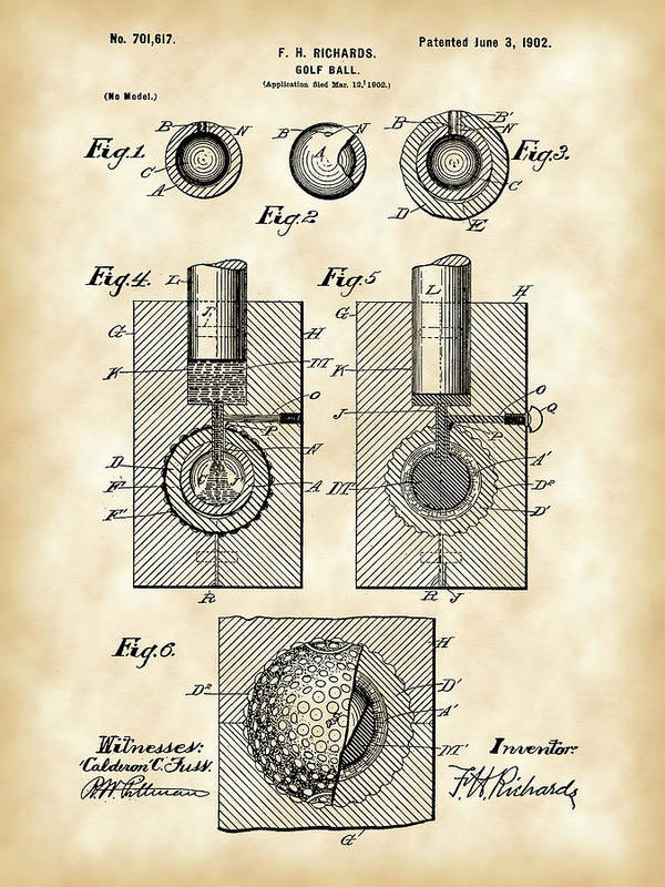 Patent Art Print featuring the digital art Golf Ball Patent 1902 - Vintage by Stephen Younts