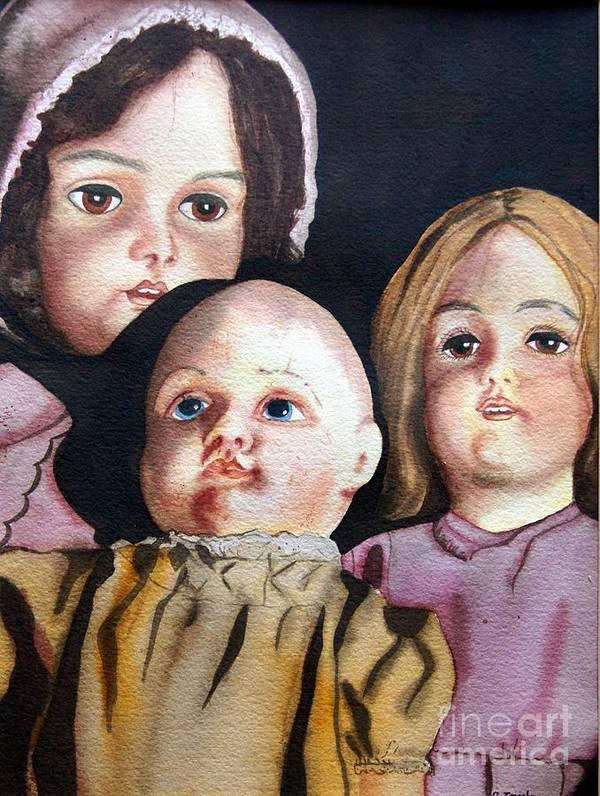 Old Dolls Art Print featuring the painting Grandma's Dolls by Gail Zavala