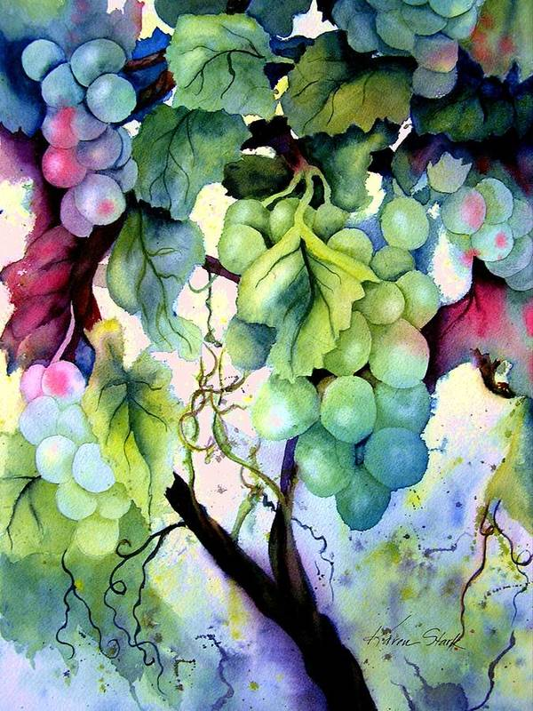 Grapes Art Print featuring the painting Grapes II by Karen Stark