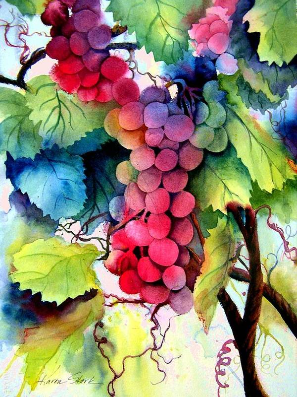 Grapes Art Print featuring the painting Grapes by Karen Stark