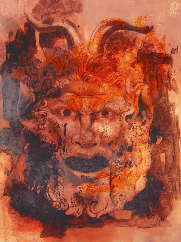 Drawing Art Print featuring the digital art Greek Mask 8 by Tom Durham