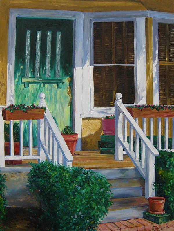 Green Art Print featuring the painting Green Door by Karen Doyle