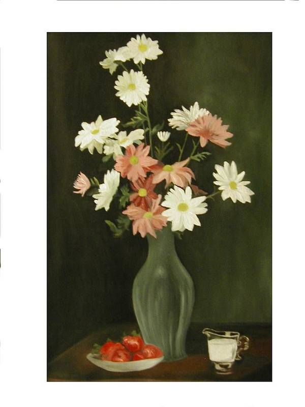 Still Life Art Print featuring the painting Green Vase With Flowers by Angelo Thomas