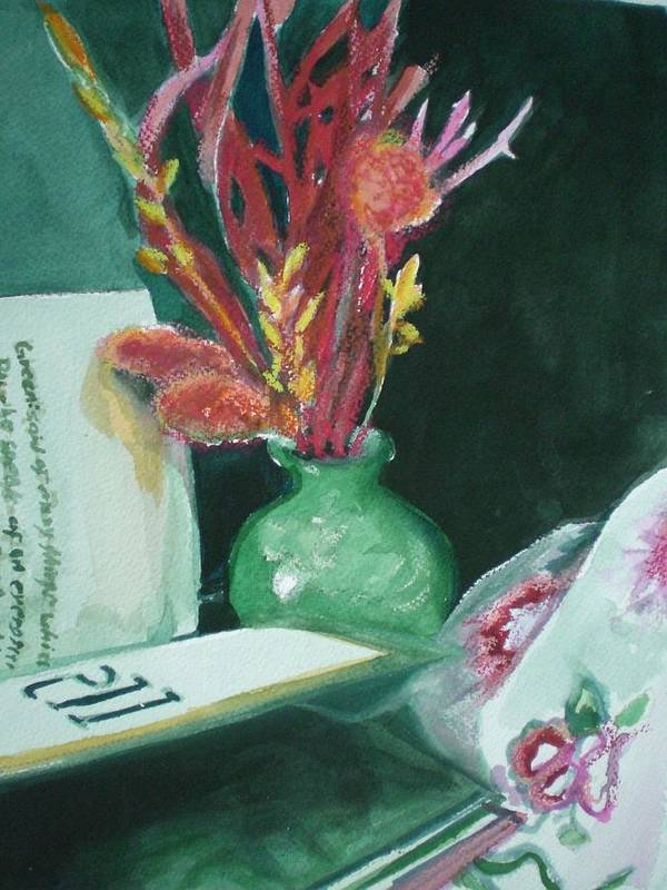 Still Life Art Print featuring the painting Green Vase With Open Book by Aleksandra Buha