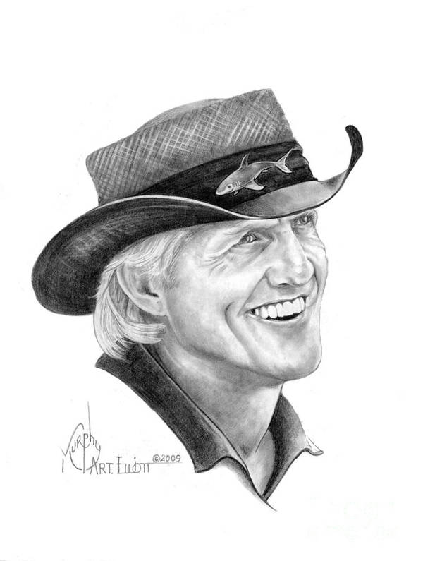 Greg Norman Art Print featuring the drawing Greg Norman by Murphy Elliott