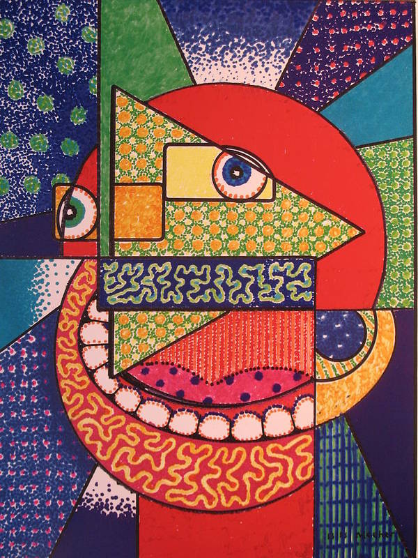 Cubism Art Print featuring the painting Grinning Redneck by Bill Meeker