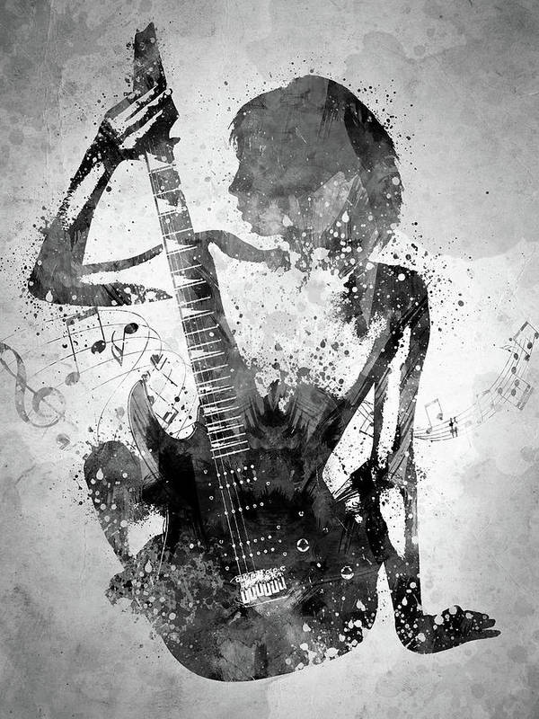 Guitar Girl Black And White Art Print By Aged Pixel