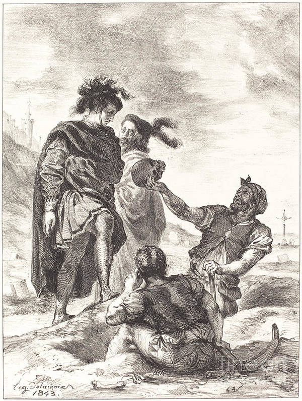 Art Print featuring the drawing Hamlet And Horatio Before The Gravediggers (act V, Scene I) by Eug?ne Delacroix