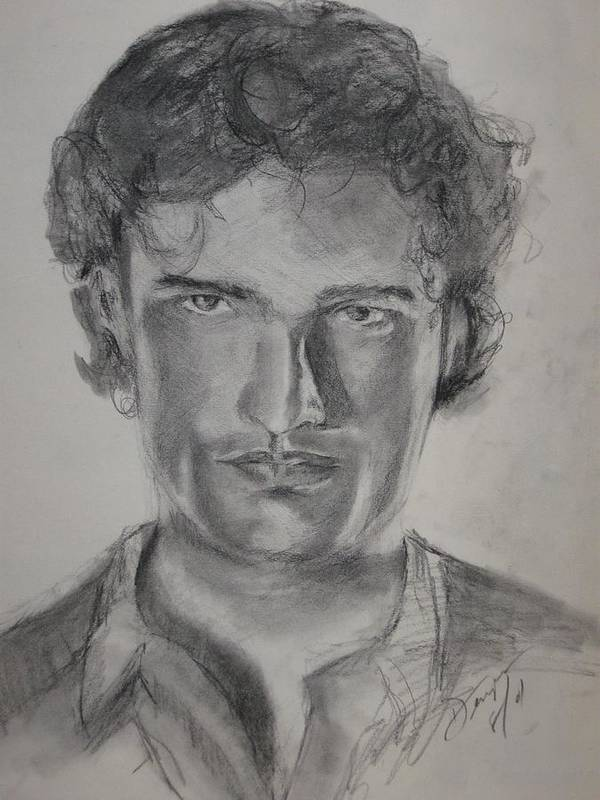 Male Model Art Print featuring the drawing Handsome by Impressionist FineArtist Tucker Demps Collection