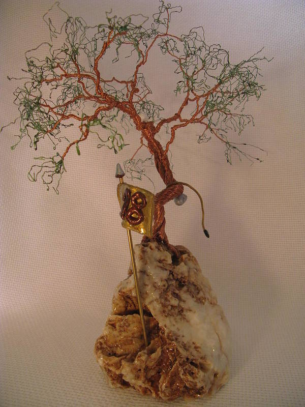 Metal Tree Art Print featuring the sculpture Hanging It Up by Judy Byington