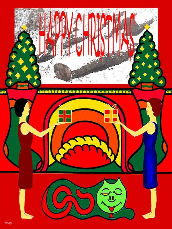 Christmas Art Print featuring the painting Happy Christmas 32 by Patrick J Murphy