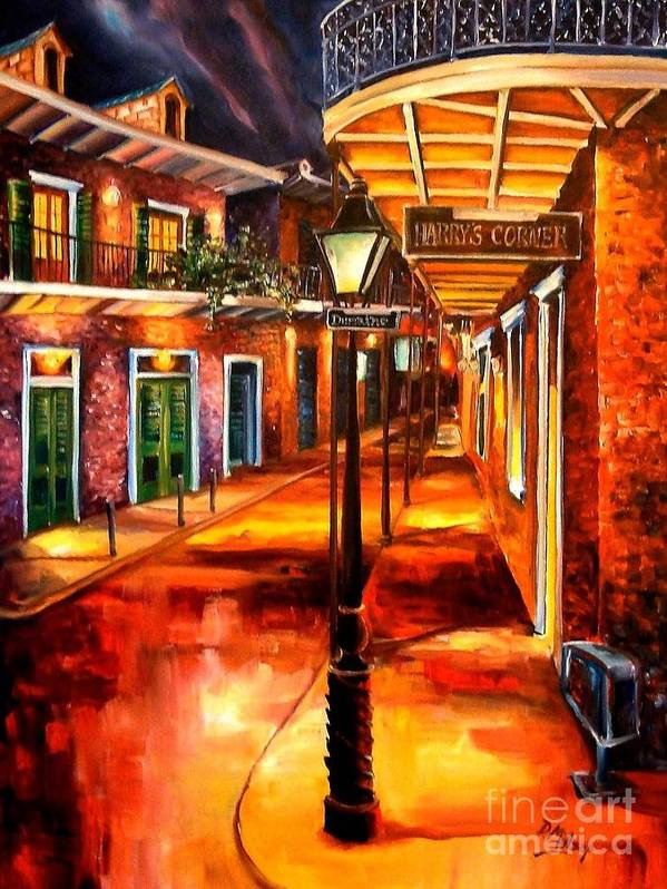 New Orleans Art Print featuring the painting Harrys Corner New Orleans by Diane Millsap