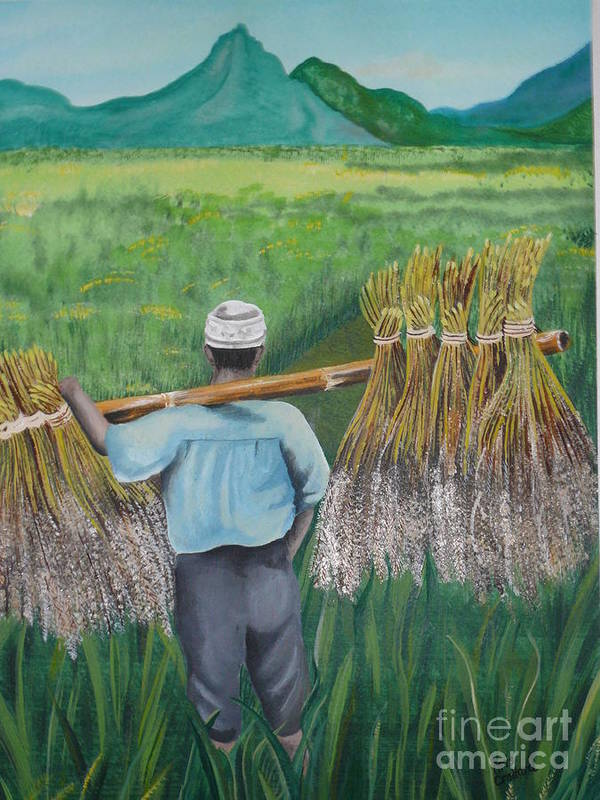 Landscape Art Print featuring the painting Harvest by Kris Crollard