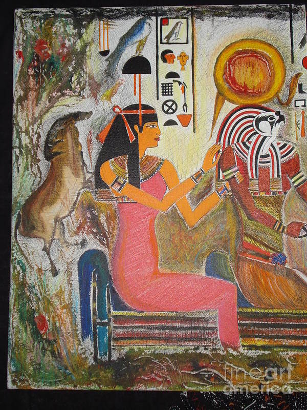 Hathor Art Print featuring the mixed media Hathor And Horus by Prasenjit Dhar