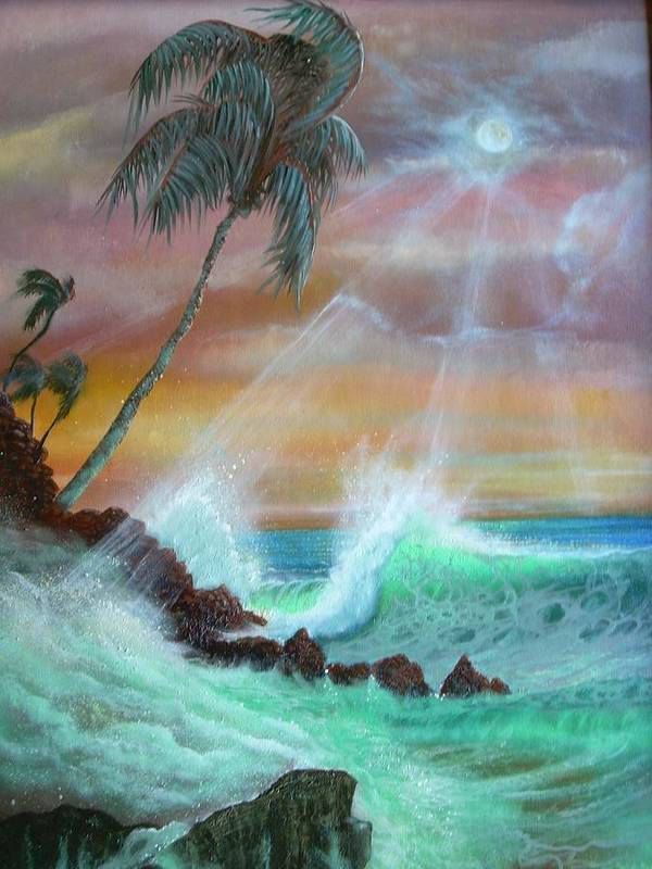 Hawaii Sunset Art Print featuring the painting Hawaii Sunset by Leland Castro