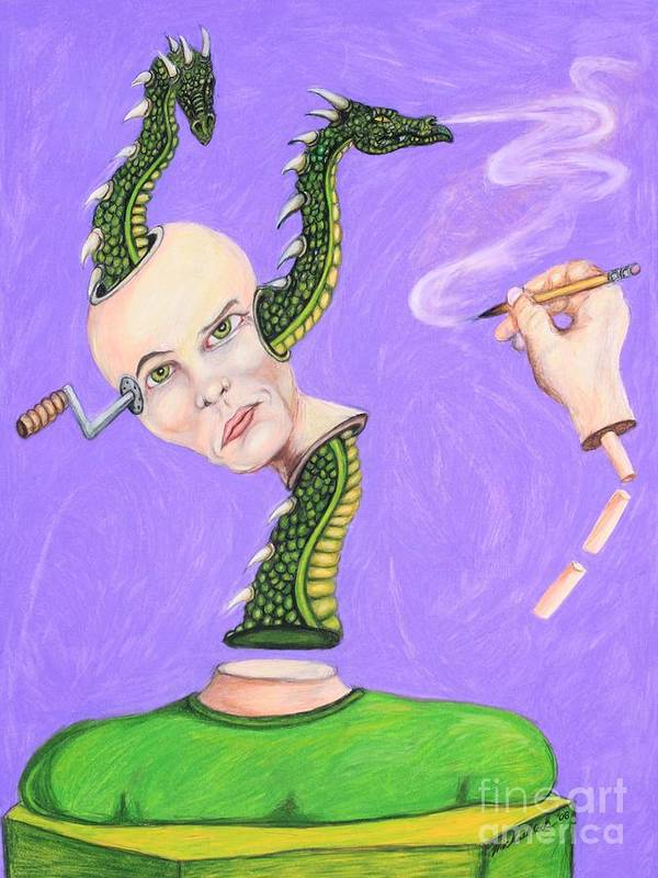 Dragons Surreal Fantasy Art Print featuring the drawing Head Crank by Michael Cook