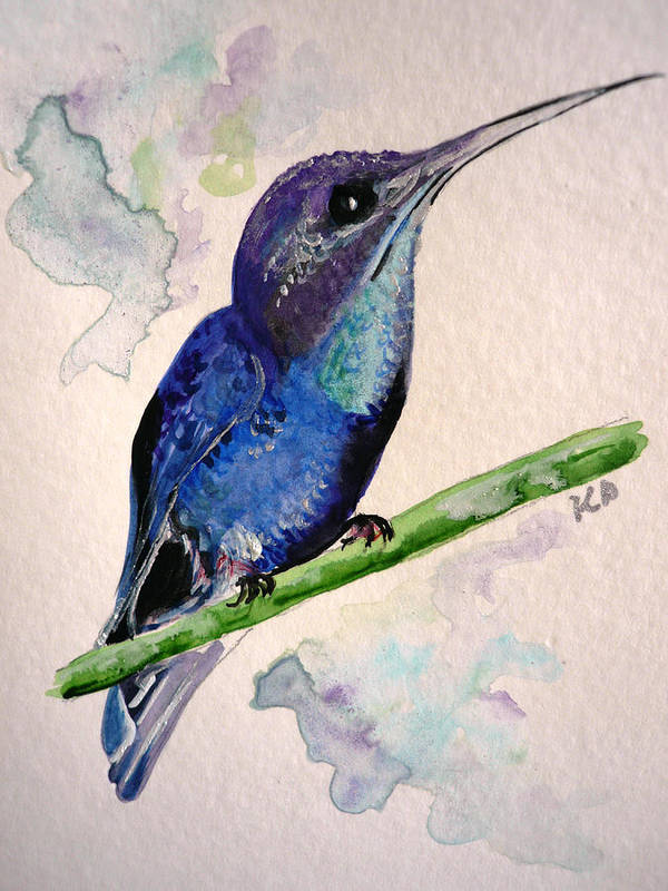 Hummingbird Painting Bird Painting Tropical Caribbean Painting Watercolor Painting Art Print featuring the painting hHUMMINGBIRD 2  by Karin Dawn Kelshall- Best
