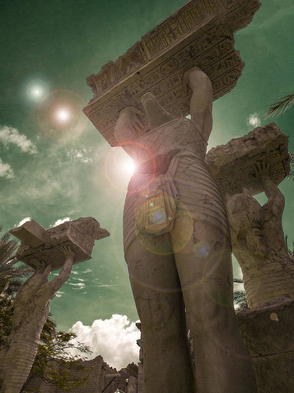 Art; Brown; Cloud; Concrete; Digital; Eerie; Grain; Green; Perspective; Sculpture; Star; Statue; Stone; Strange; Sun; Sunny; Sunshine; Tall; Texture; Up; Weird; Lens Flare Art Print featuring the photograph Hiding From The Hostile Suns by Steve Taylor