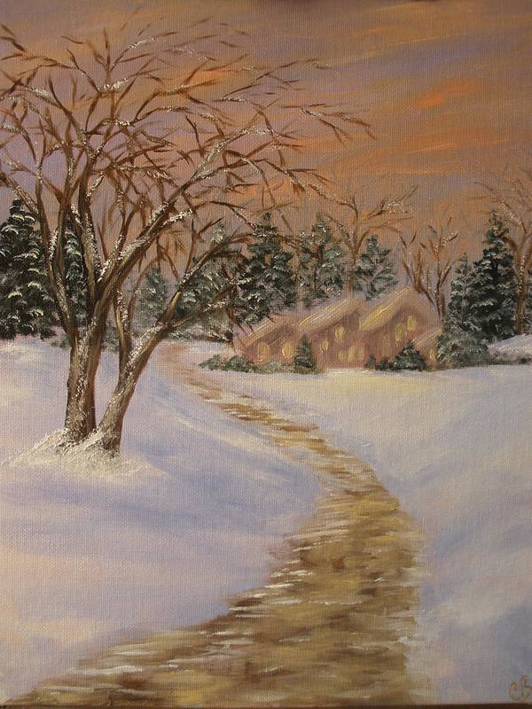 Home Art Print featuring the painting Home For Christmas by Carrie Mayotte