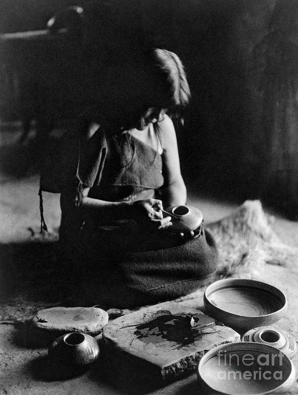 1906 Print featuring the photograph Hopi Potter, C1906 by Granger