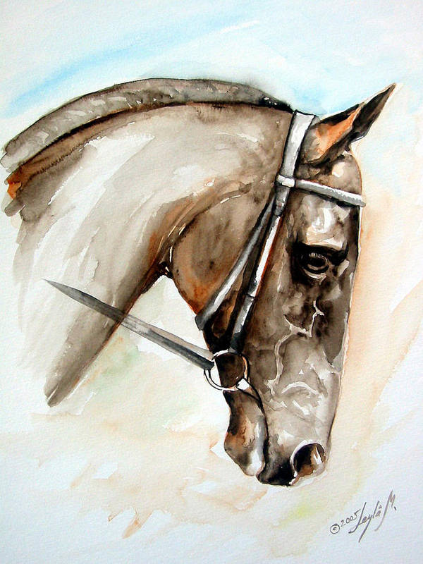 Horse Art Print featuring the painting Horse Head by Leyla Munteanu