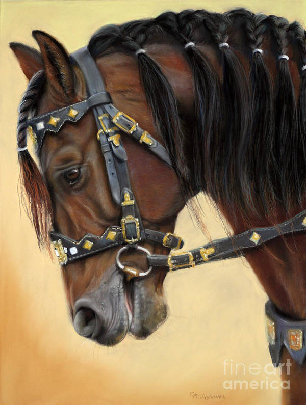 Horse Art Print featuring the painting Horse Portrait by Svetlana Ledneva-Schukina