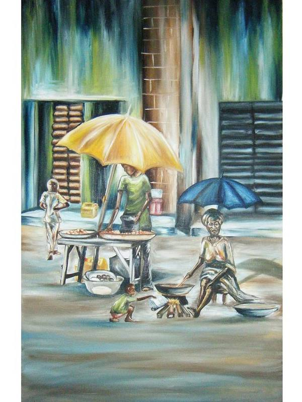 Oil Art Print featuring the painting How Market by Olaoluwa Smith