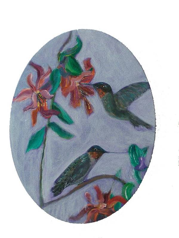 Humming Birds Art Print featuring the painting Humming Birds by Mikki Alhart