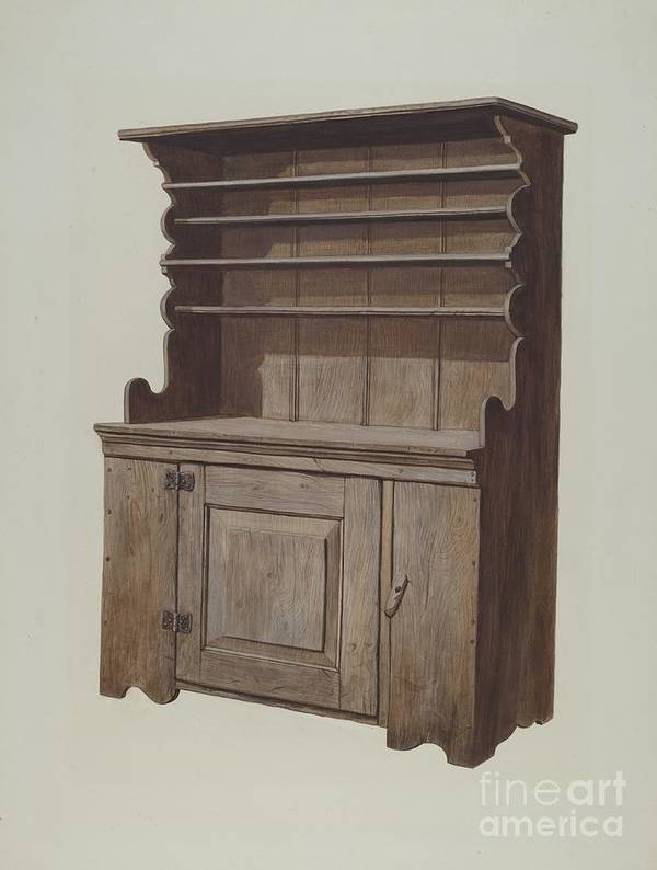 Art Print featuring the drawing Hutch Dresser by Leslie Macklem