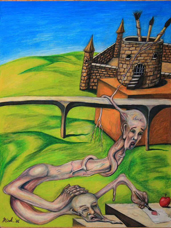 Surreal Conjoined Twins Landscape Art Print featuring the drawing If I Can See It I Can Draw It by Michael Cook