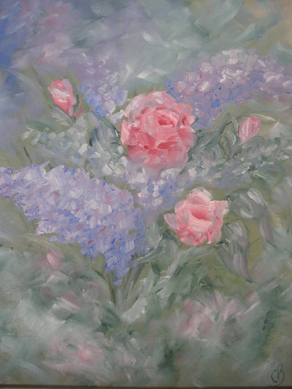 Flowers Art Print featuring the painting In Bloom by Carrie Mayotte