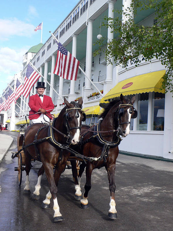 Horses Art Print featuring the photograph In The Grand Mackinac Manner by Charles Ridgway