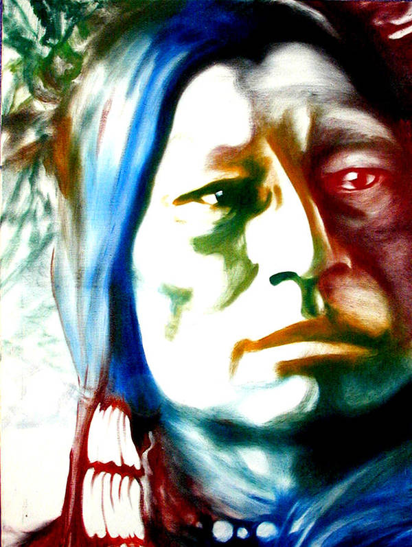 Portrait Art Print featuring the painting Indian 1 by Scott Robinson