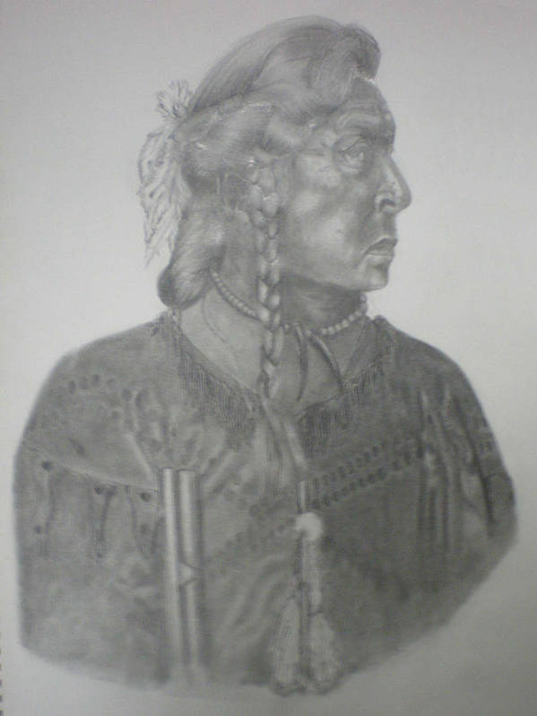 Head Dress Art Print featuring the drawing Indian Cheif by Randy McFall