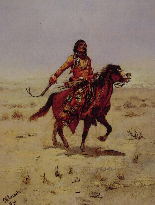 Indian Art Print featuring the digital art Indian Rider by PixBreak Art