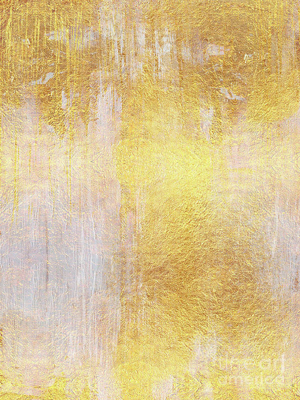 Radiant Art Print featuring the painting Iridescent Abstract Non Objective Golden Painting by Tina Lavoie