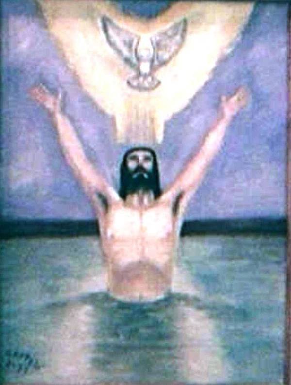 Holy Spirit Christ Baptised Jordan River Art Print featuring the painting It Came To Pass by Gloria M Apfel
