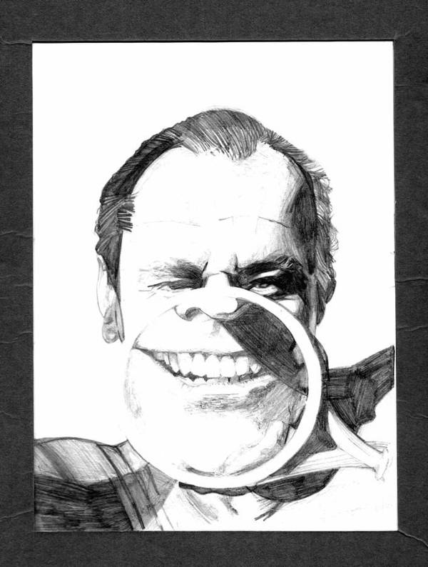 Jack Nicholson Art Print featuring the drawing Jack by Brian Child