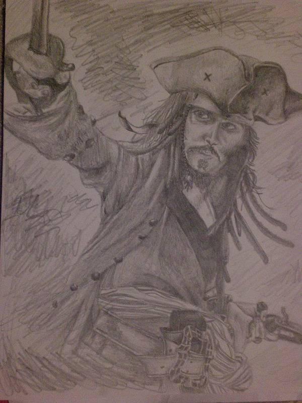 Jack Sparrow Art Print featuring the drawing Jack by Lisa Leeman