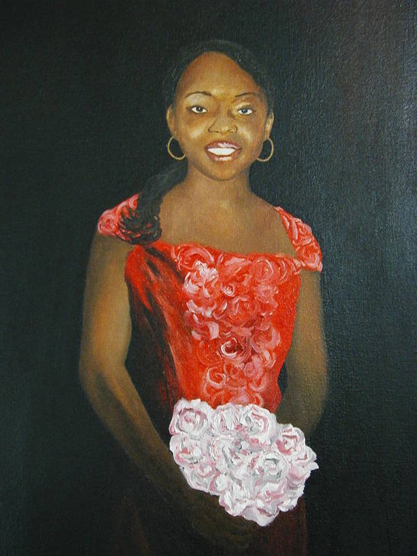 Portrait Art Print featuring the painting Jaclyn by Angelo Thomas