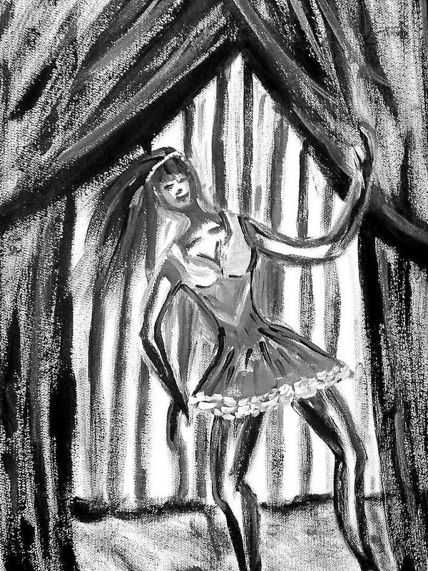 Dance Art Print featuring the painting Jazz Dancer In Black And White by BJ Abrams