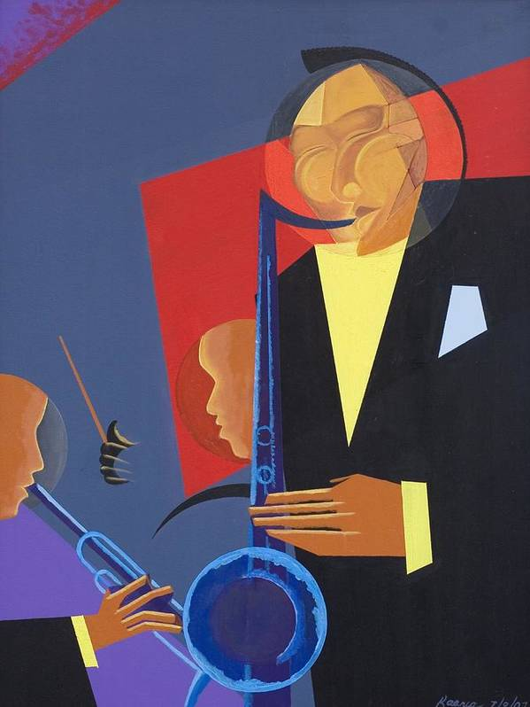 In A Groove Art Print featuring the painting Jazz Sharp by Kaaria Mucherera